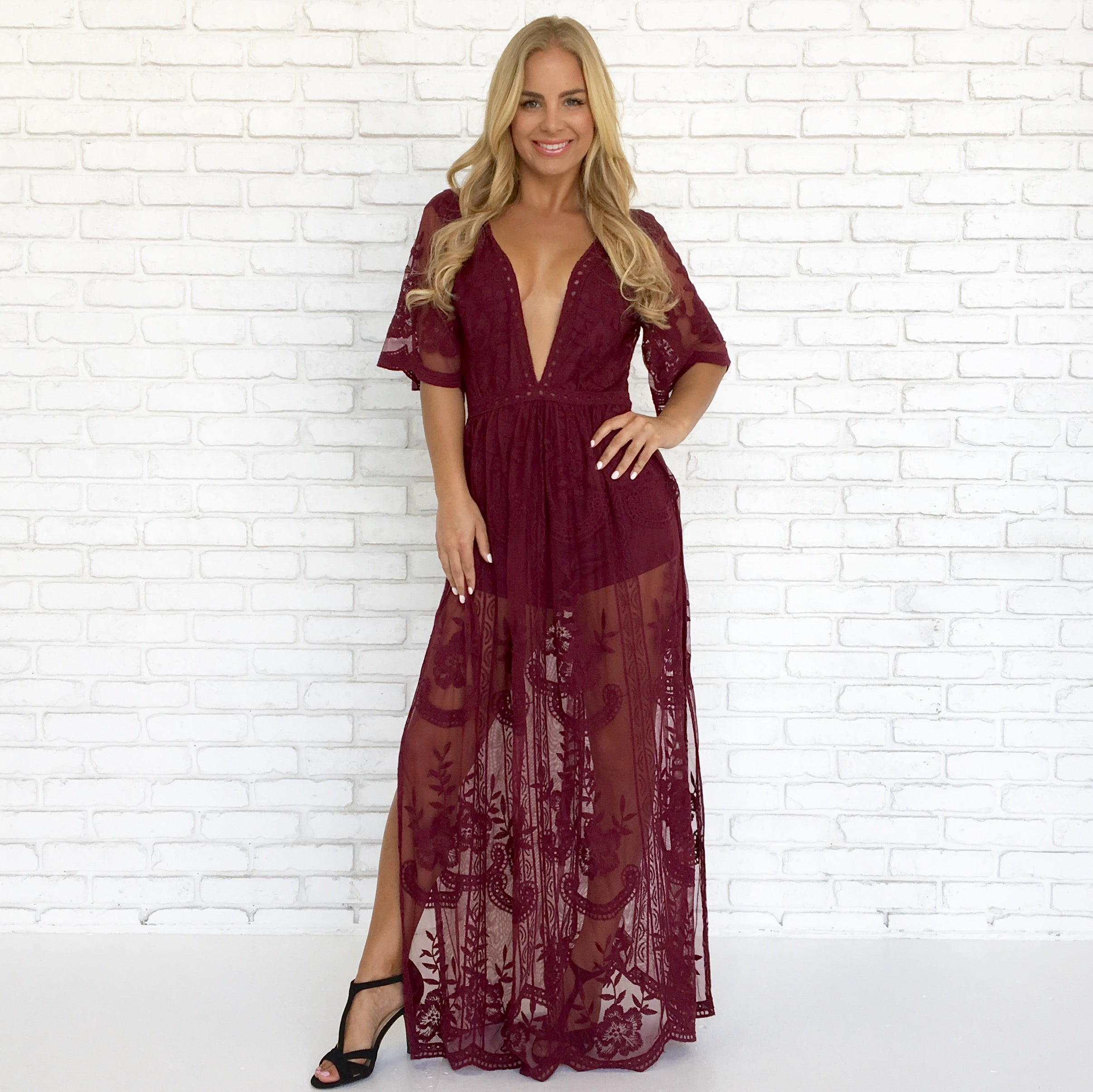 d2865d5cb16 Gift Giving Lace Romper in Burgundy - Dainty Hooligan Boutique