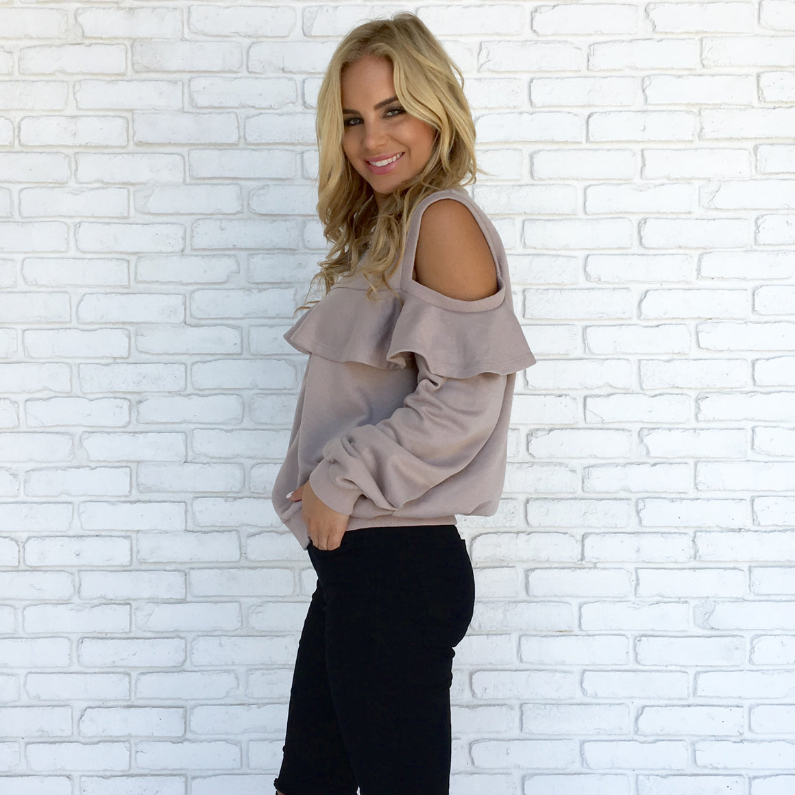 Ruffle Zip Up Sweater in Taupe