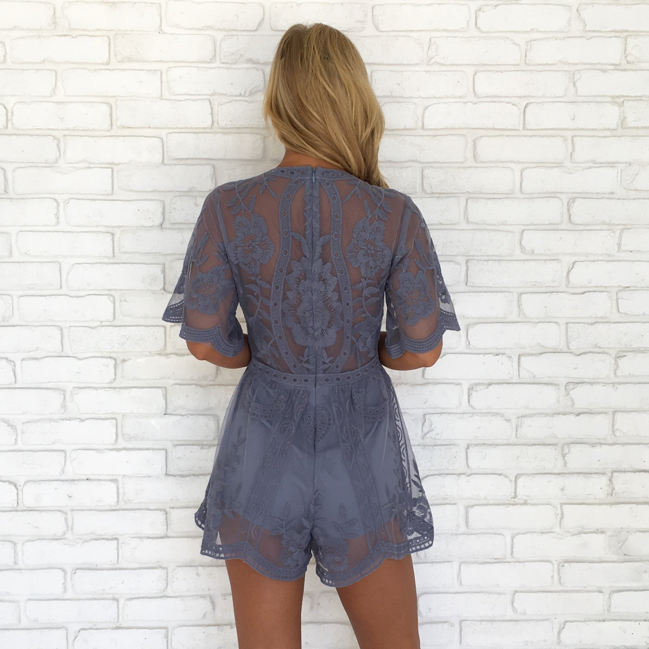 c76e136b4d50 Popping Chic   Lace Romper in Dusty Blue - Dainty Hooligan Boutique