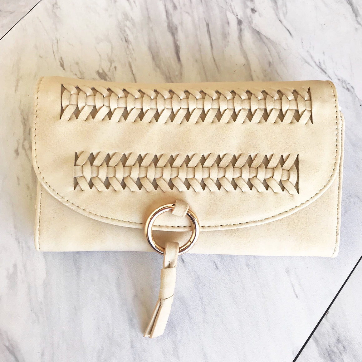 Coming In Clutch Handbag in Cream