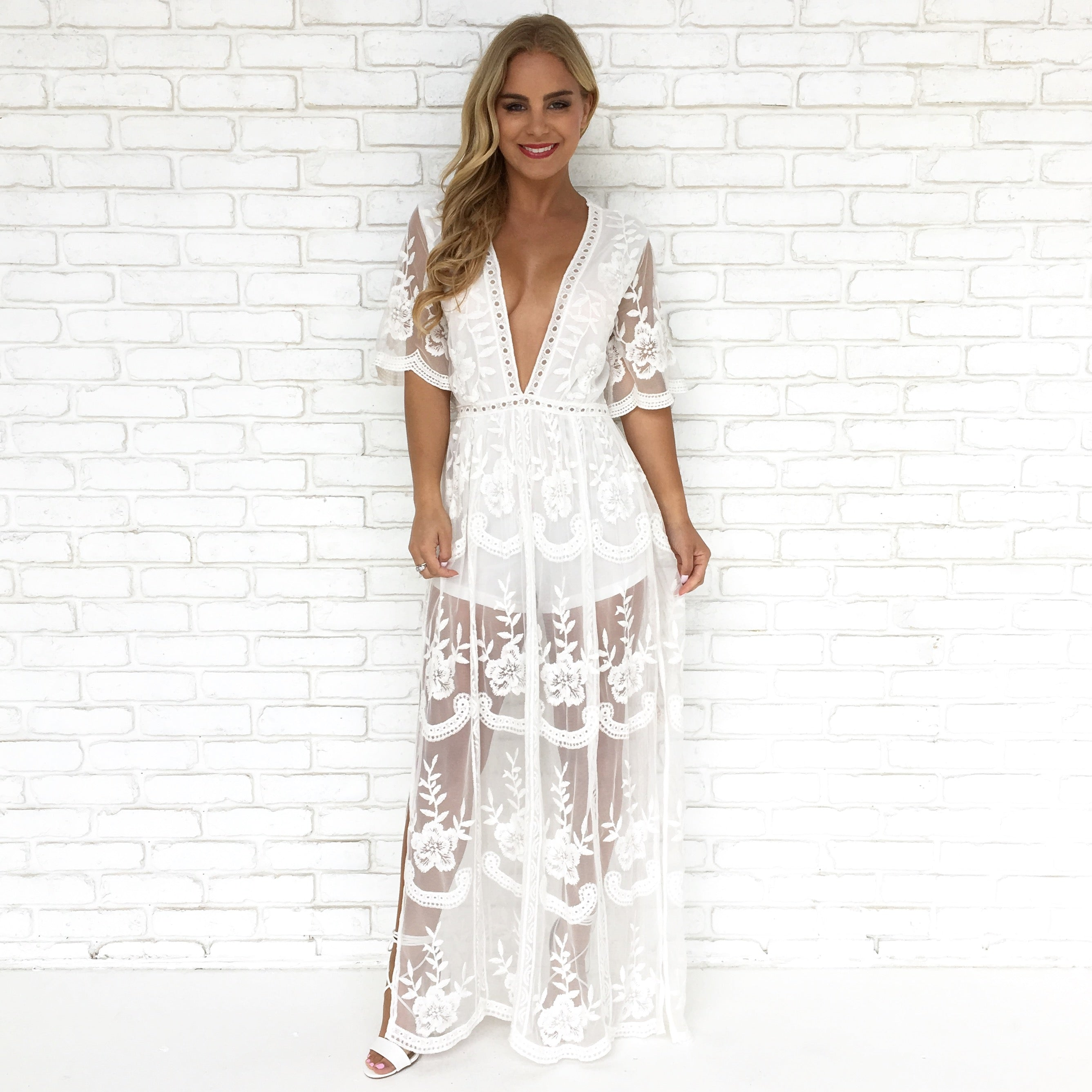 31a521b856b3 Wine   Dine Embroidered Maxi Dress in White - Dainty Hooligan Boutique