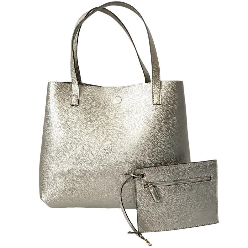 Ombre Reversible Tote Handbag In Grey & Pewter Silver