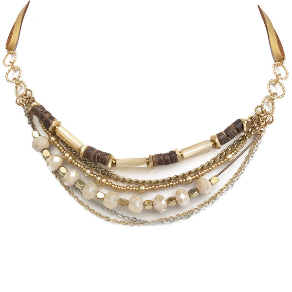 Cantina Bead Layered Choker Necklace