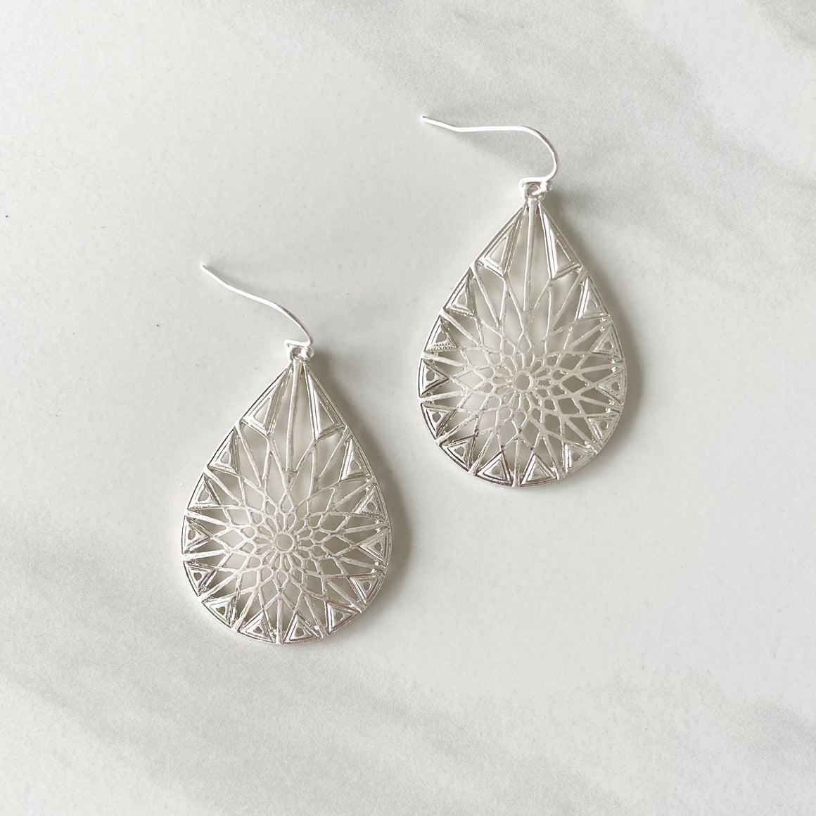 Silver Dollar Laser Cut Silver Earrings