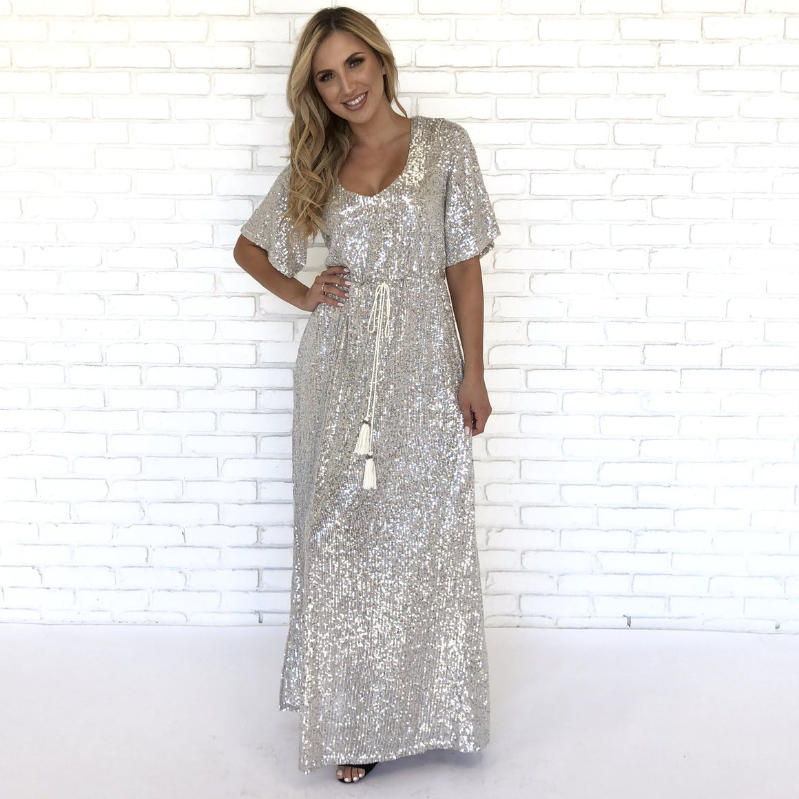 Cosmo Crystal Sequin Maxi Dress - Dainty Hooligan
