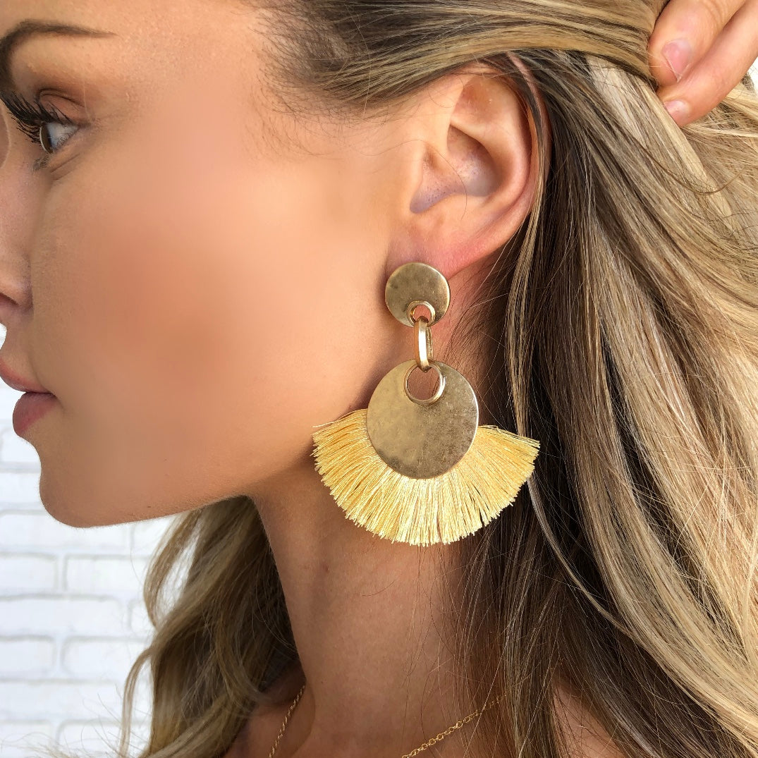 Round and Round Yellow Tassel Earrings