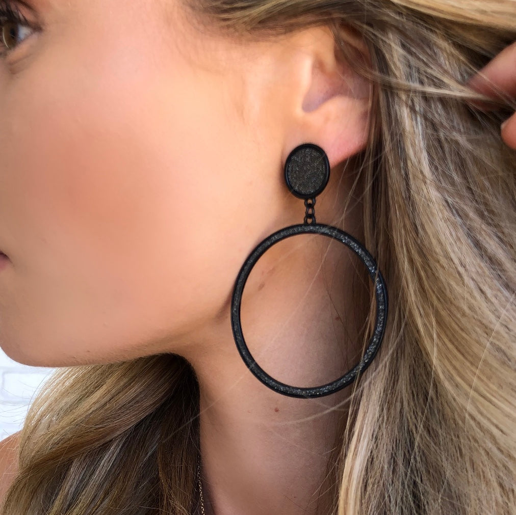 Feel Alive Black Hoop Earrings