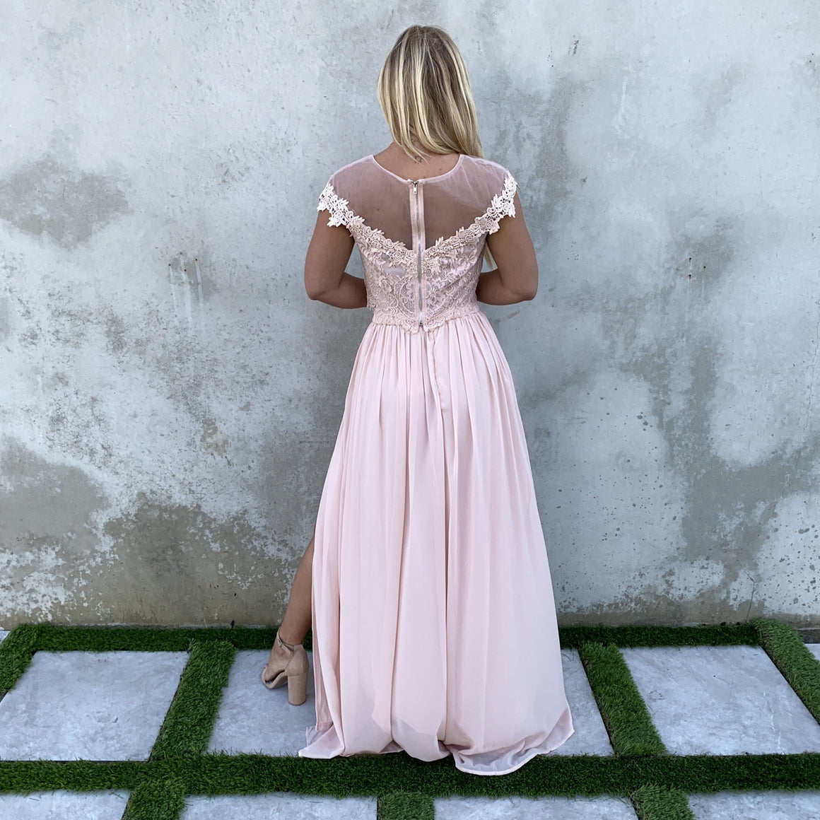 Dance With Me Lace Top & Maxi Skirt Set In Blush Pink - Dainty Hooligan