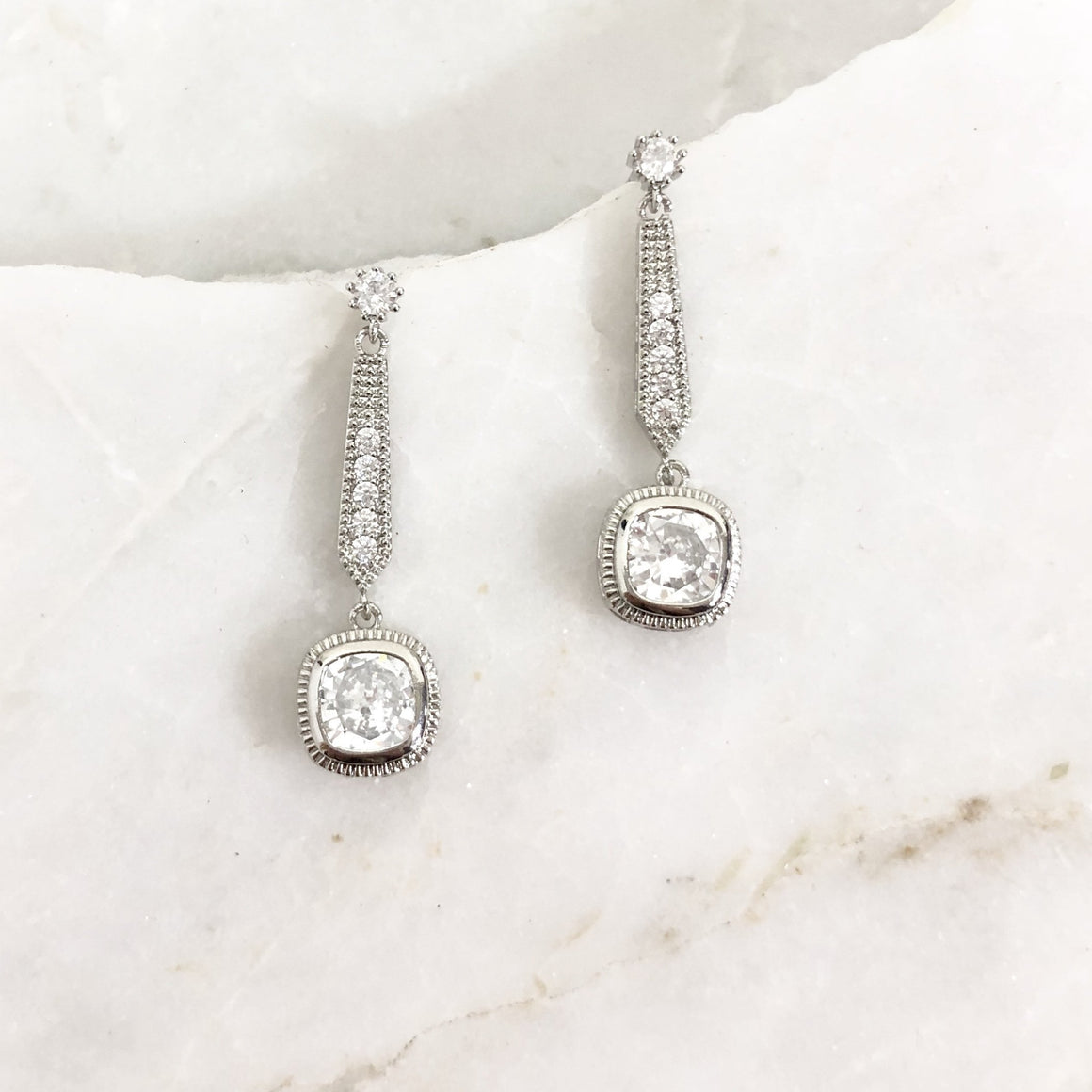 At The Gala Sparkle Earrings in Silver - Dainty Hooligan