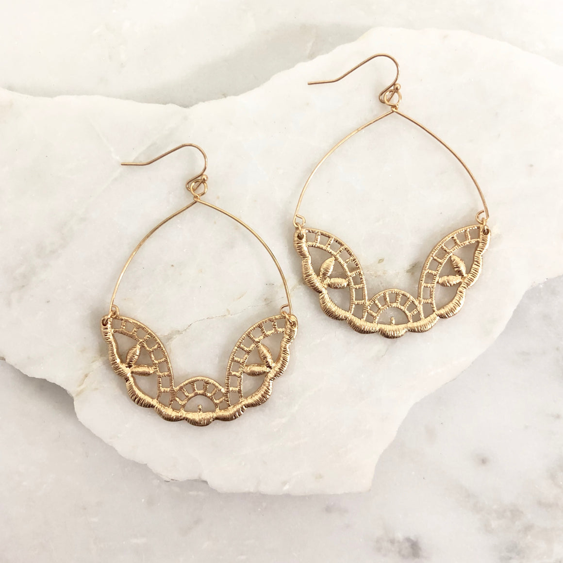 Hi Profile Lace Earrings in Gold