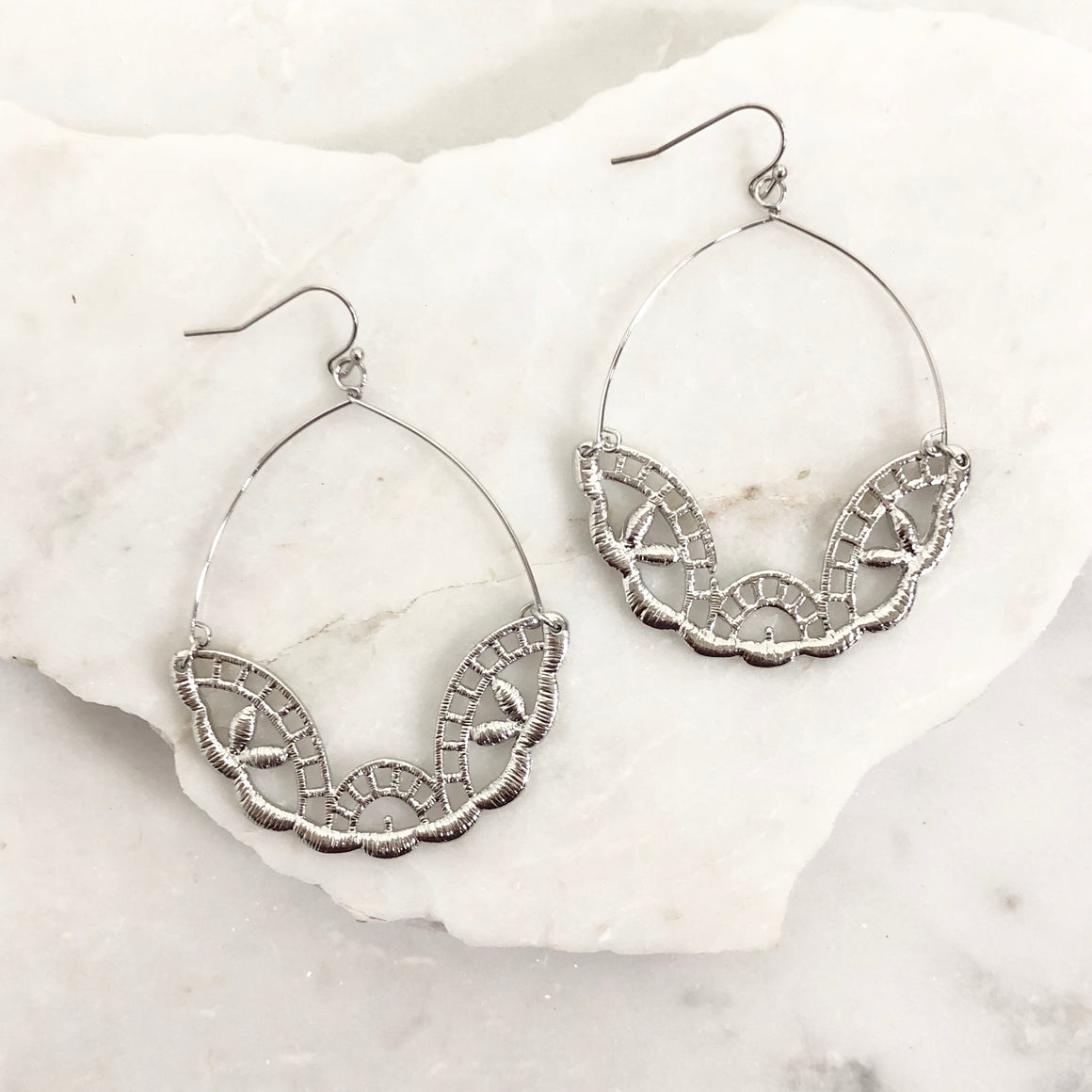 Hi Profile Lace Earrings in Silver