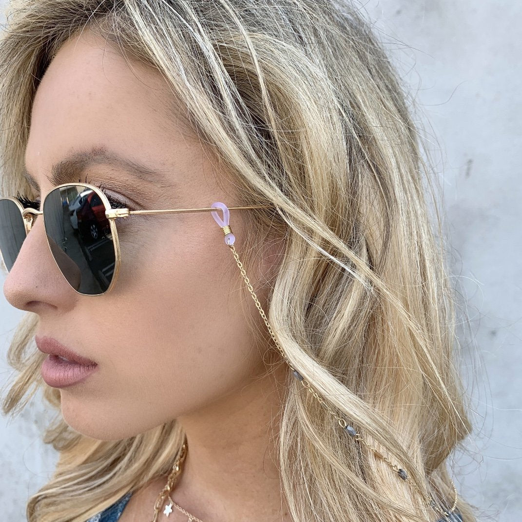 Gemma Grey Stone Sunglasses Chain - Dainty Hooligan