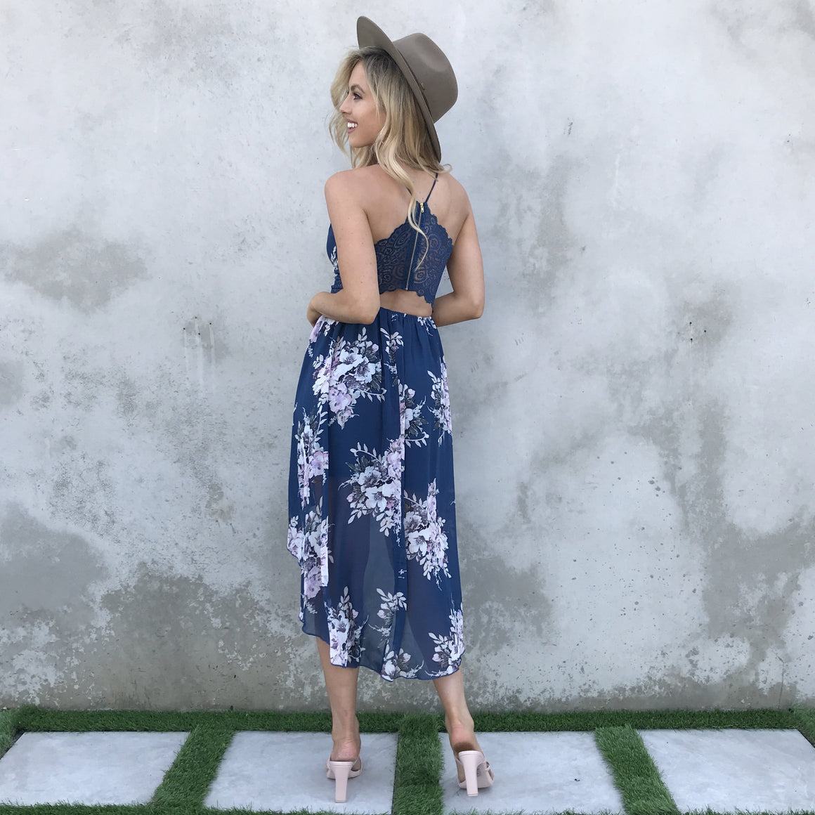 Full of Life Navy Floral Print Hi Low Dress