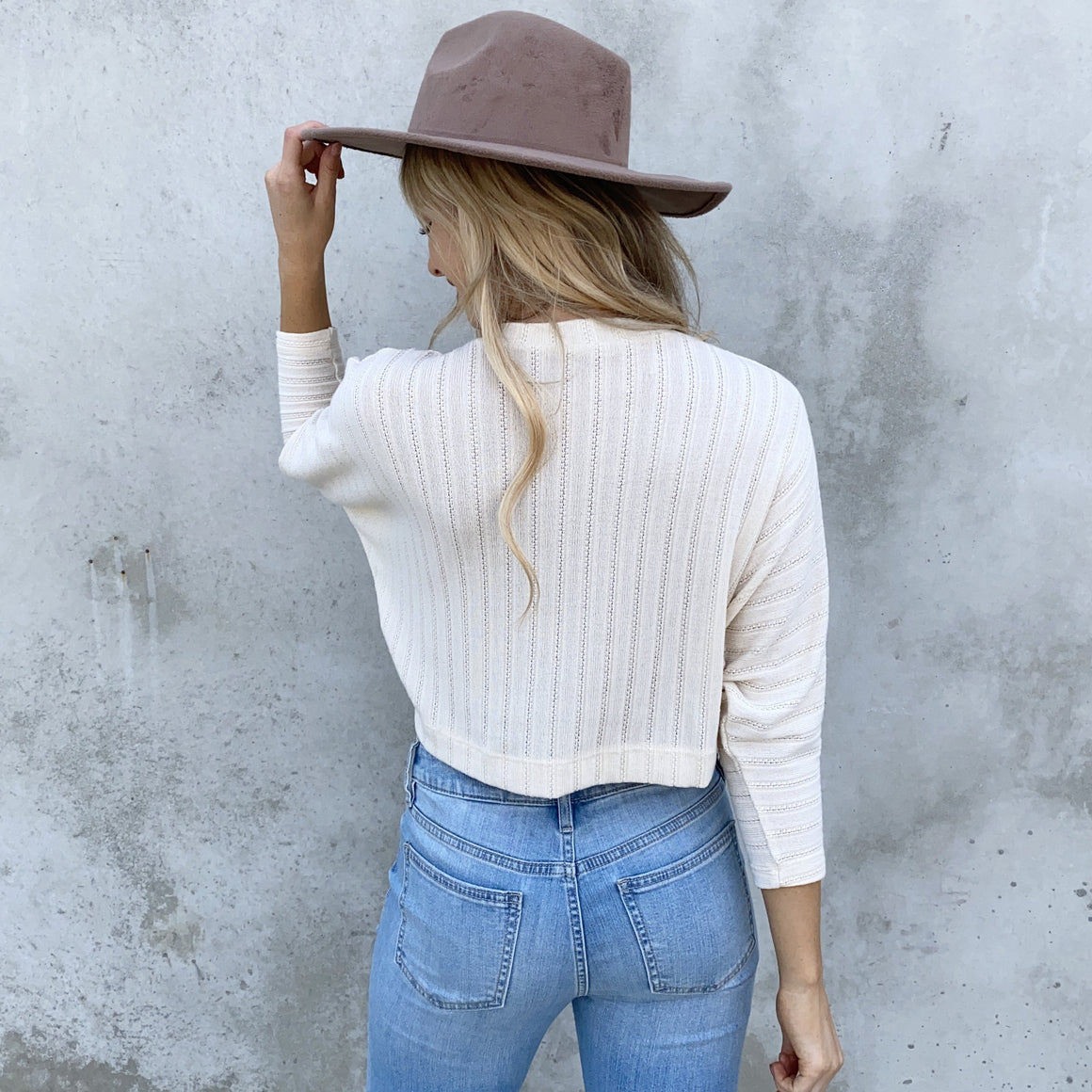 Daydream Knit Sweater Crop Top in Cream - Dainty Hooligan