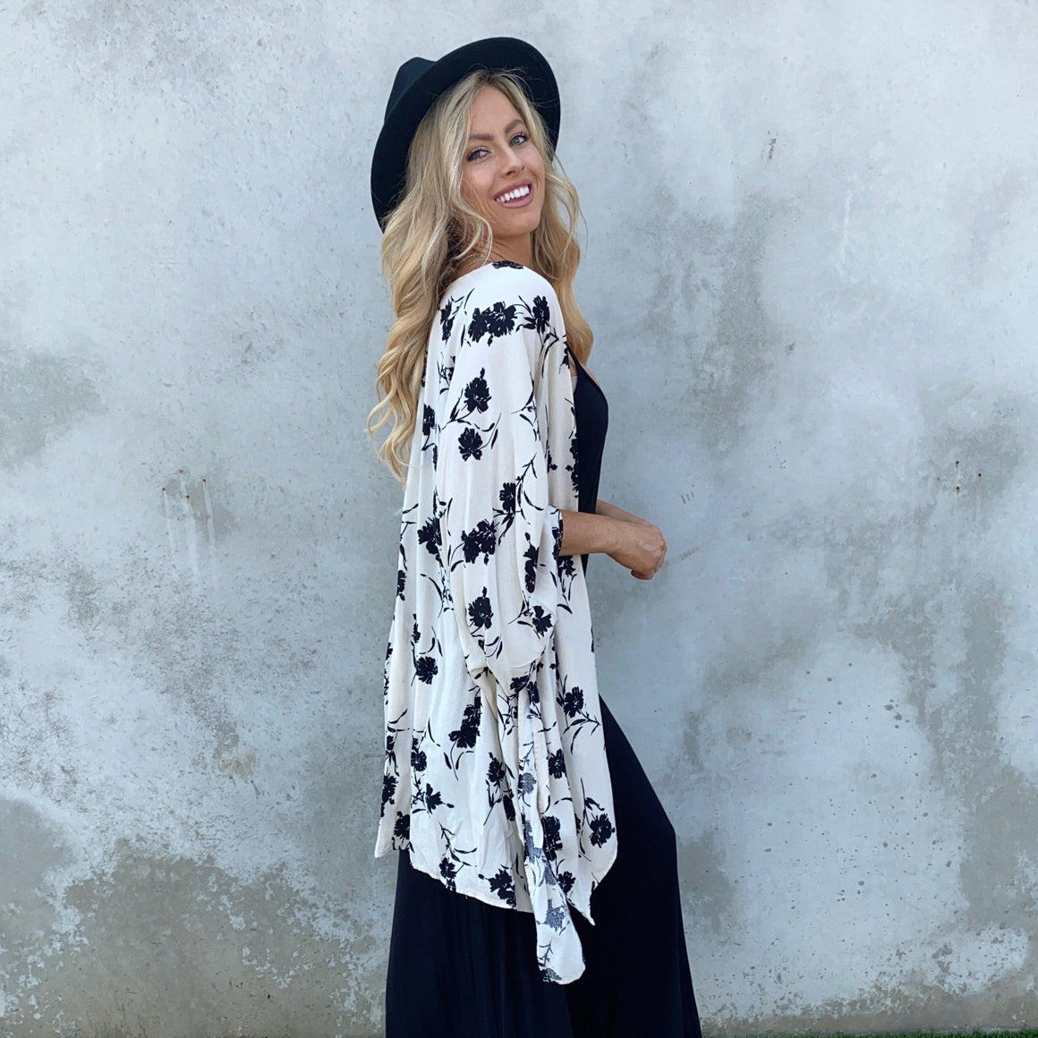 Love Bird Black and White Floral Print Kimono - Dainty Hooligan