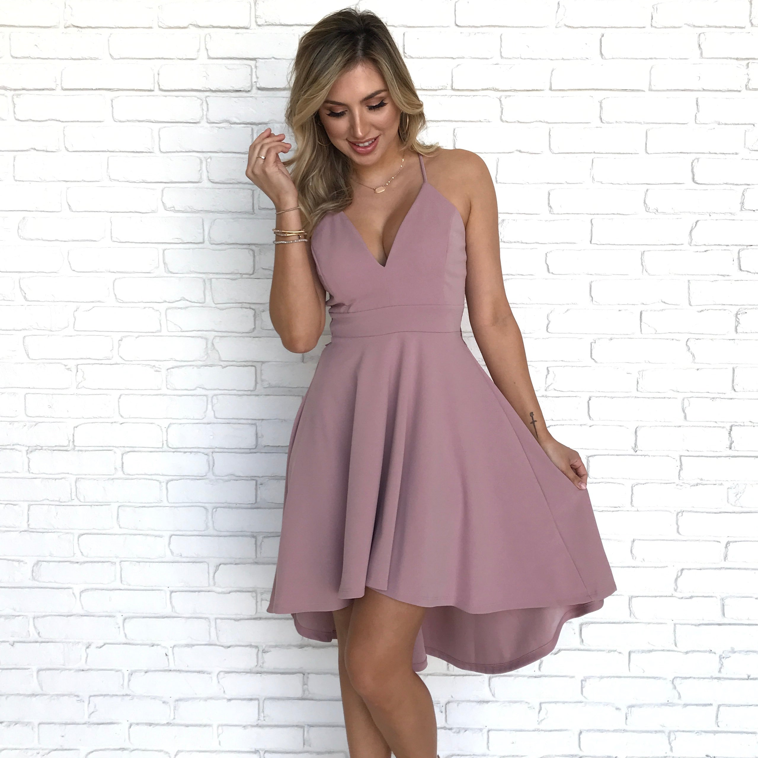c1451e74db Deep In Love Hi Low Dress in Mauve - Dainty Hooligan Boutique
