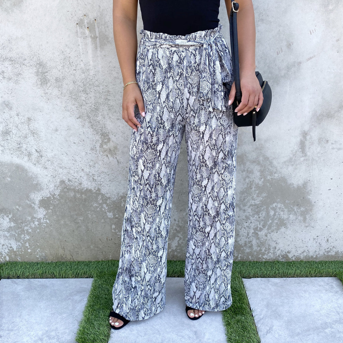 Rhythm Black & White Snakeskin Print High Waist Pants - Dainty Hooligan