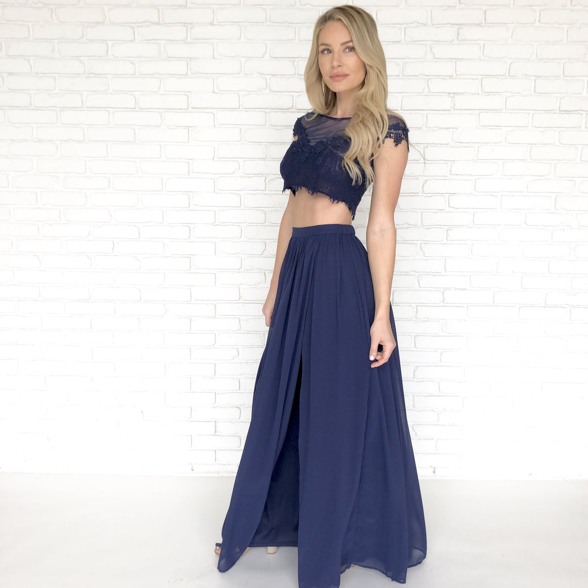 Dance With Me Lace Top & Maxi Skirt Set In Navy Blue - Dainty Hooligan