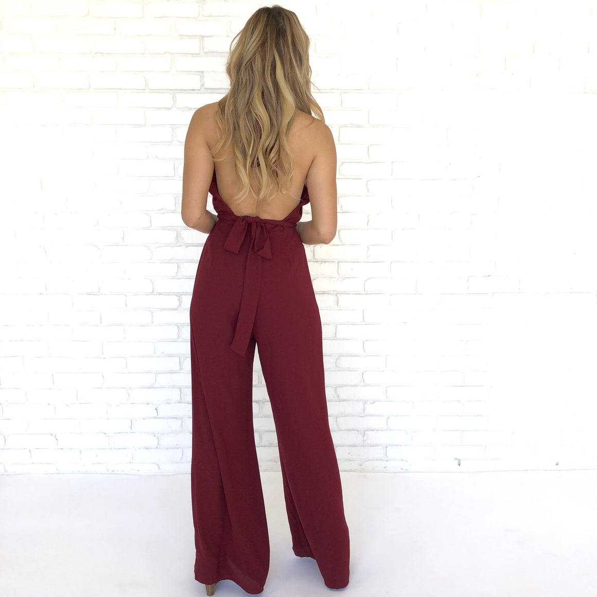 Hold Me Down Jumpsuit in Wine - Dainty Hooligan