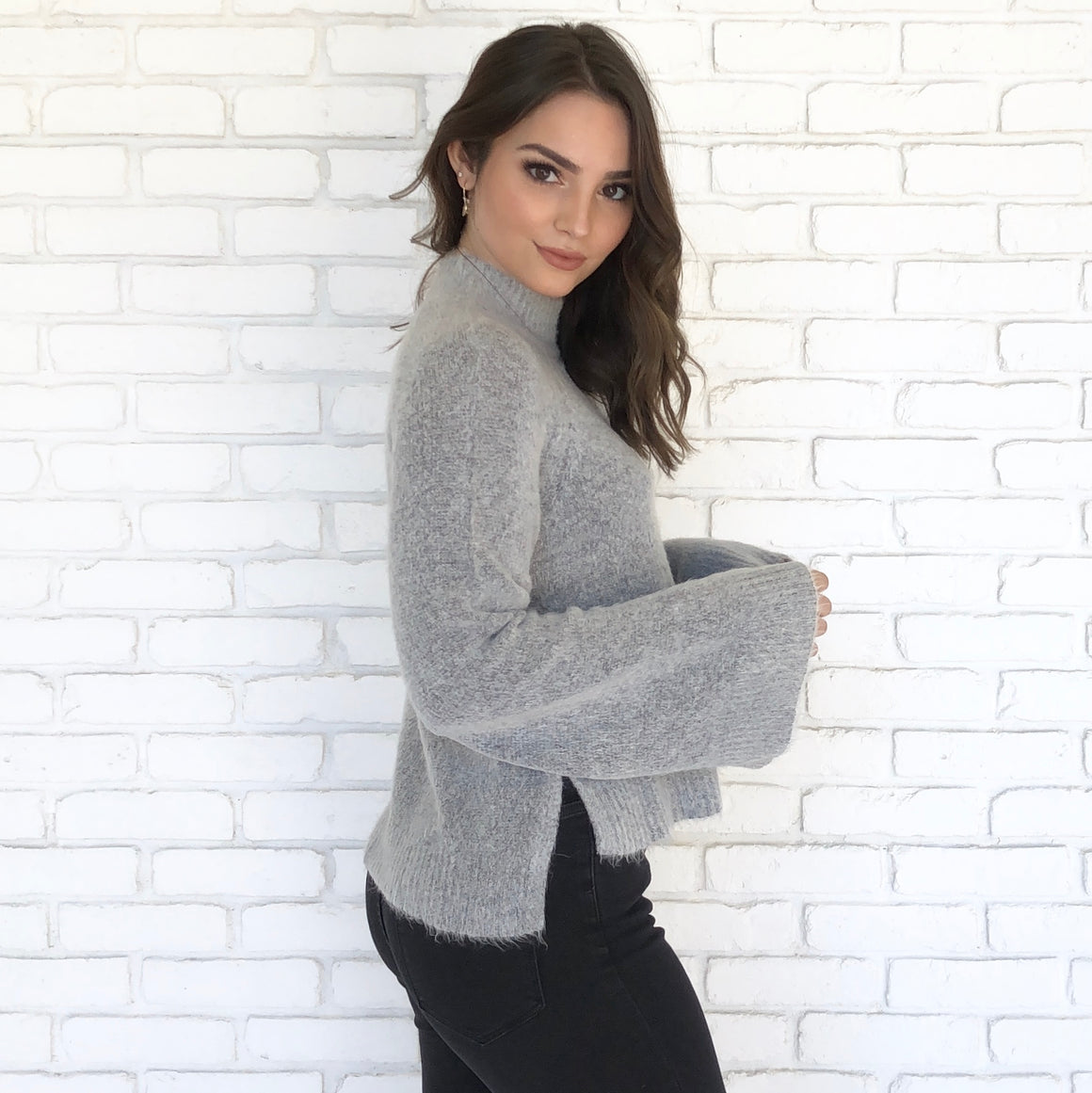 In The Clouds Heather Grey Knit Sweater