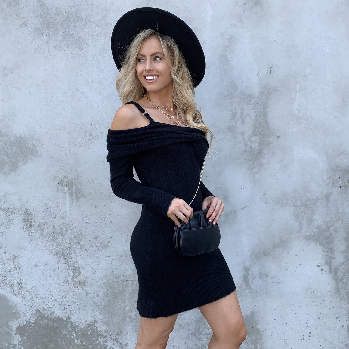 Dakota Sweater Dress in Black - Dainty Hooligan