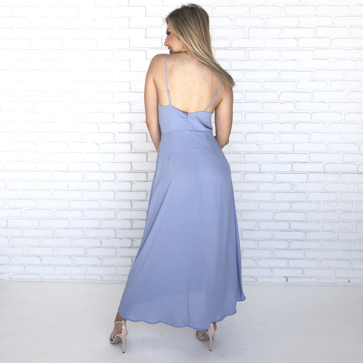 Moonlight Lover Midi Dress in Baby Blue - Dainty Hooligan