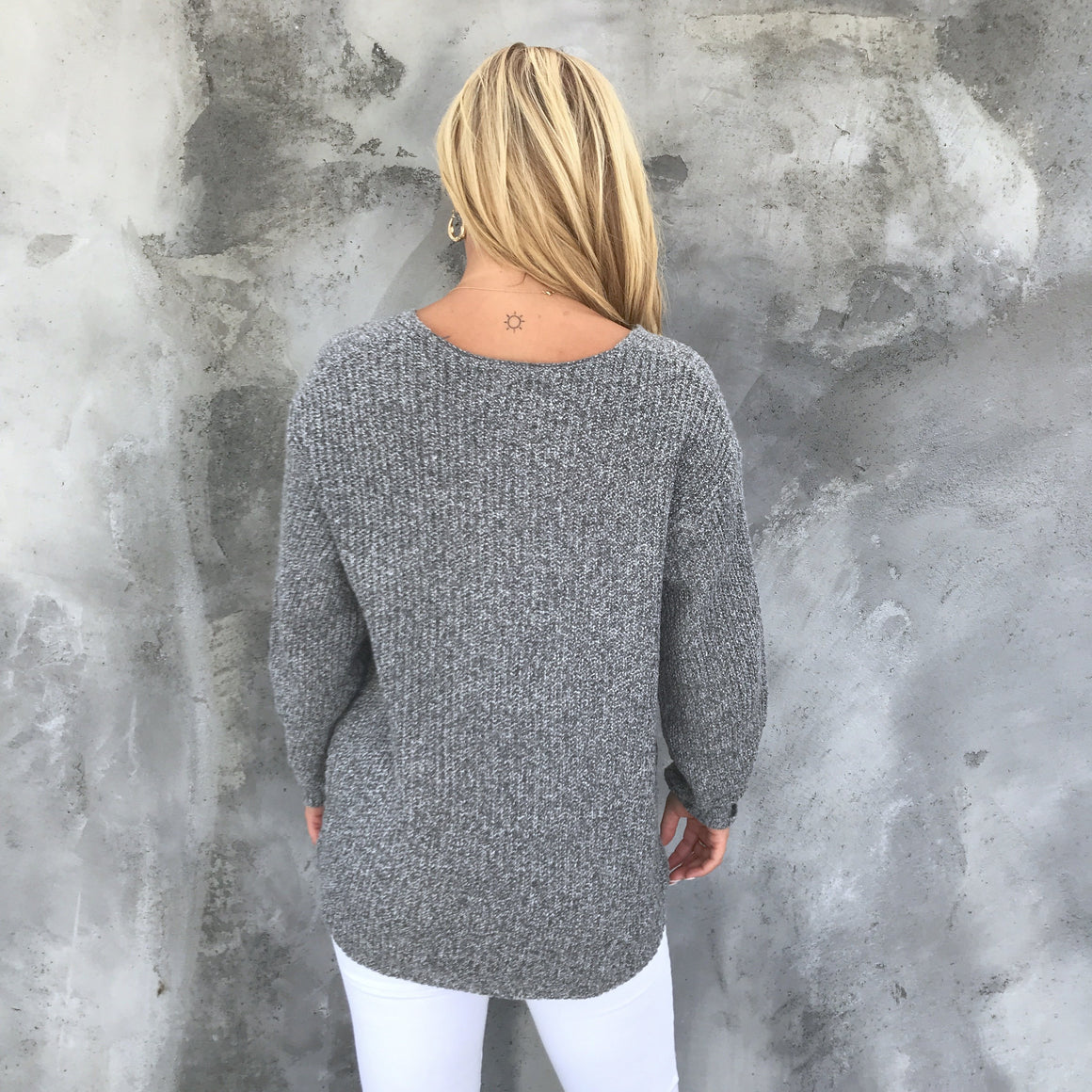 Cuddle Weather Knit Sweater In Charcoal Grey