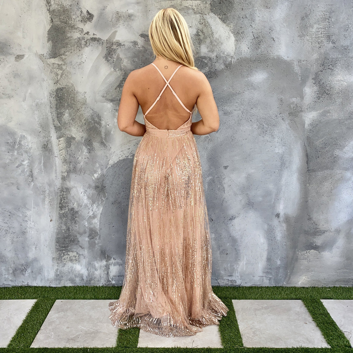Glamour Night Out Maxi Dress in Champagne