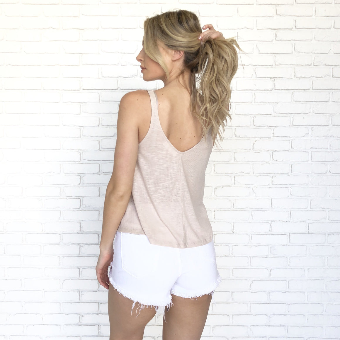 Round One Ribbed Tank Top In Tan - Dainty Hooligan