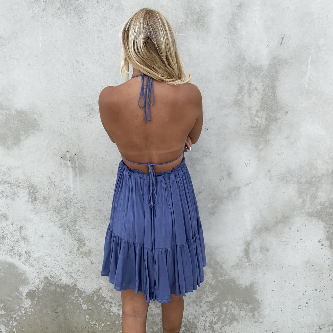 Kiss The Day Halter Summer Dress in Dusty Blue - Dainty Hooligan