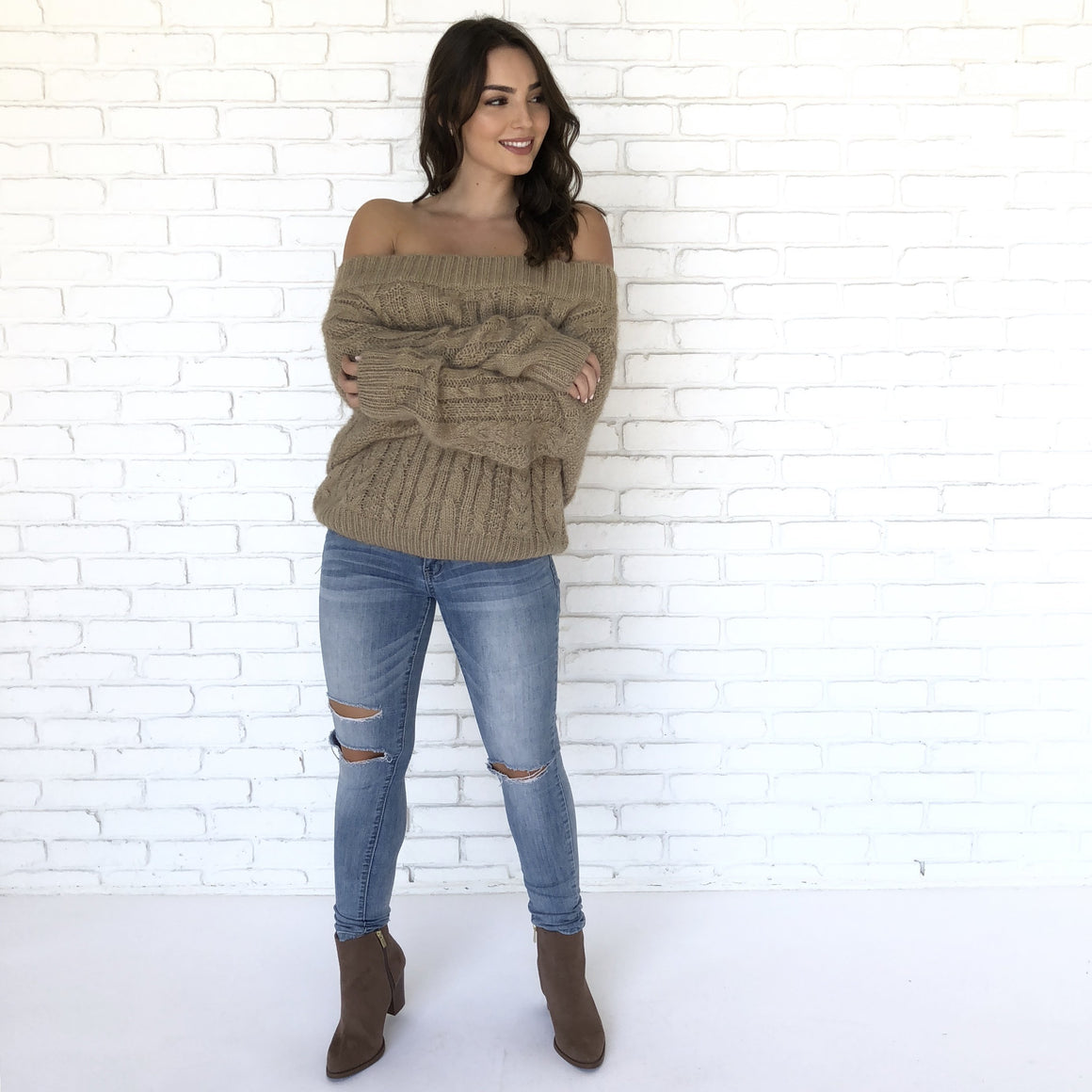 Fireplace Snuggle Off Shoulder Knit Sweater in Mocha - Dainty Hooligan