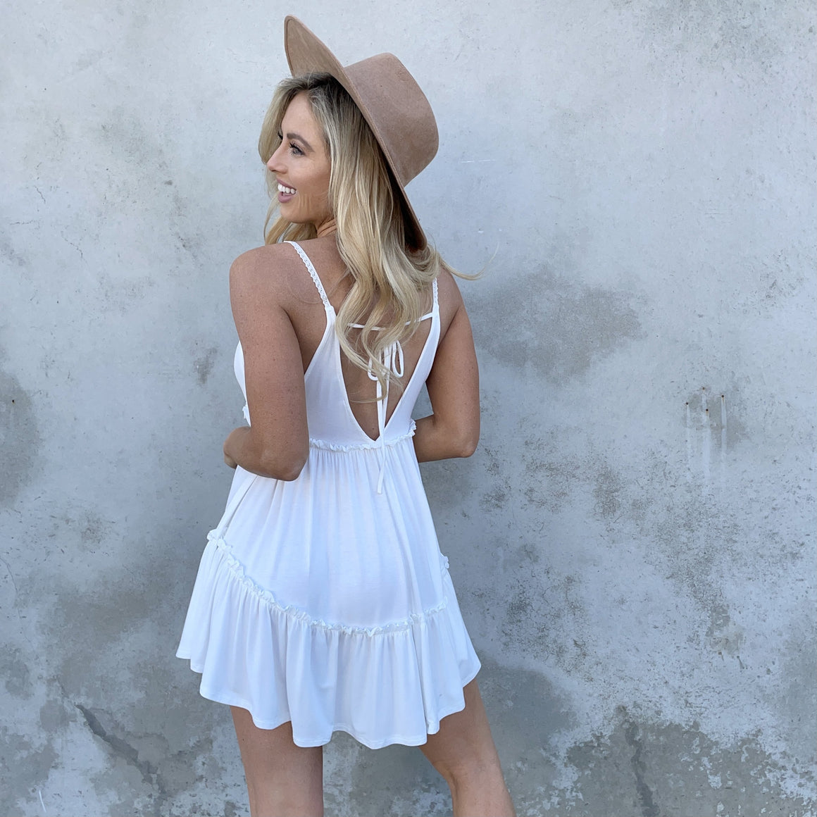 Summer Time Jersey Babydoll Tunic in White - Dainty Hooligan