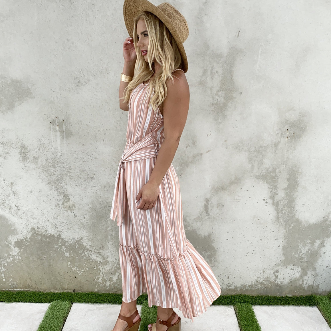 On Deck Stripe Pink Maxi Dress - Dainty Hooligan