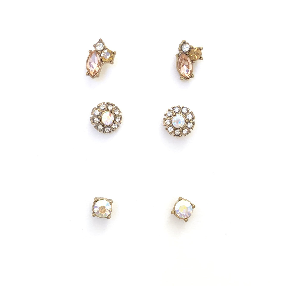 Opal Stud Crystal Earrings - Dainty Hooligan