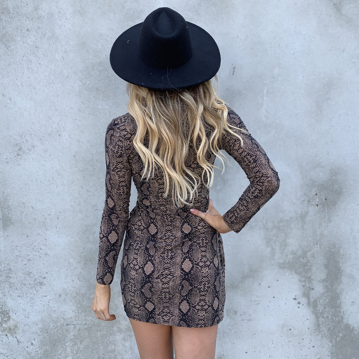 Take A Hike Snakeskin Long Sleeve Dress - Dainty Hooligan