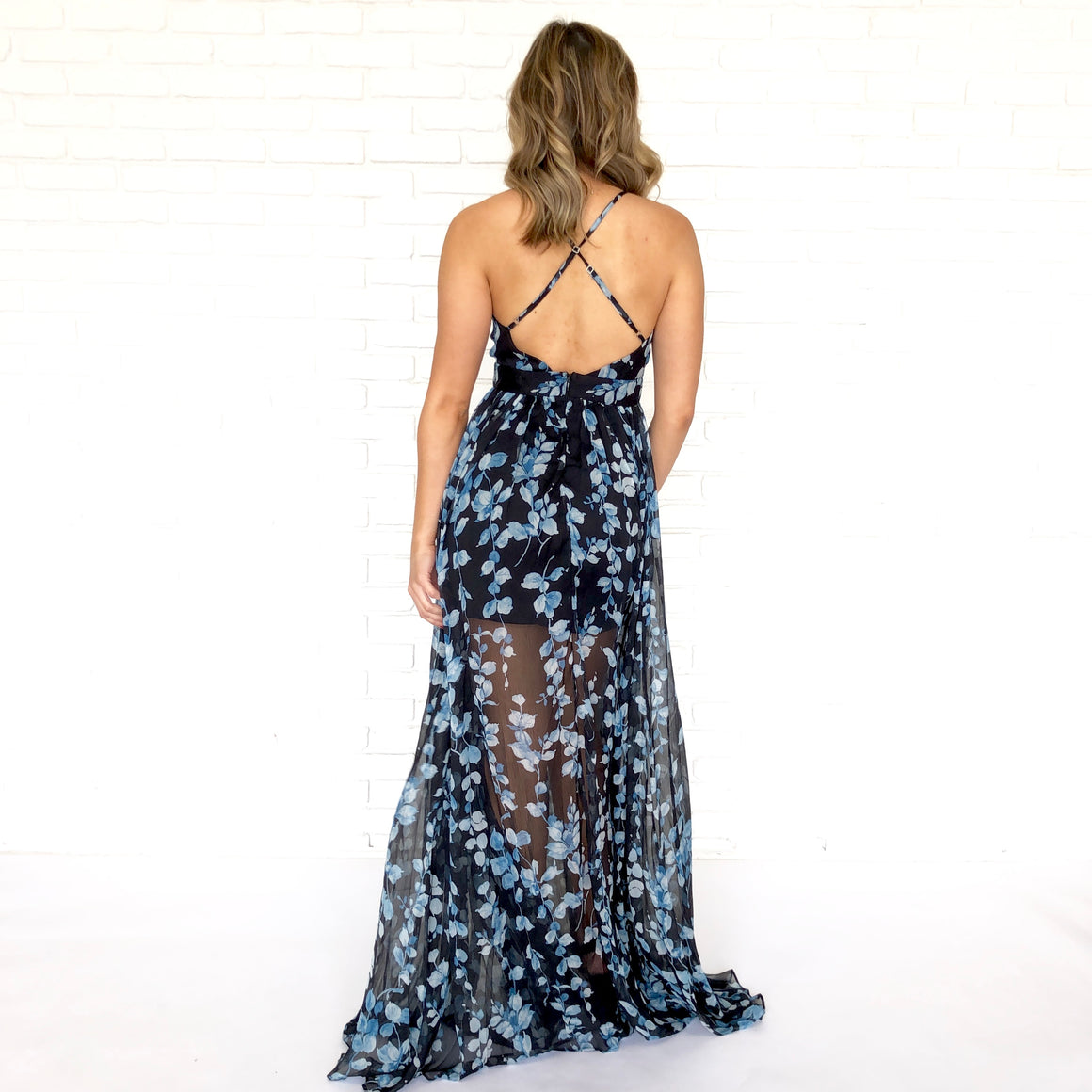 Blue Iris Criss Cross Maxi in Black