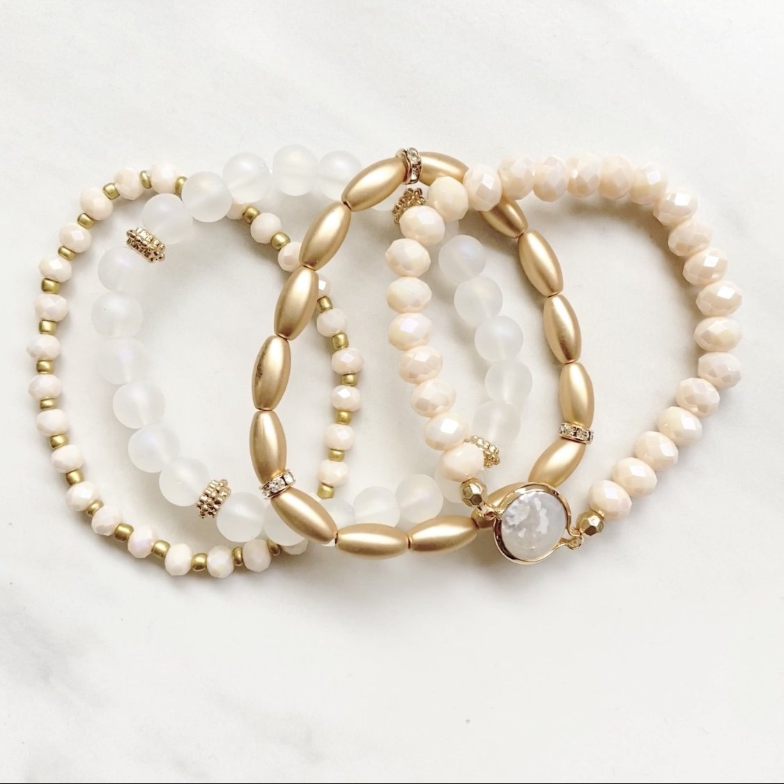 Warm Wishes Bead Bangle Bracelet Set in Gold & Cream - Dainty Hooligan