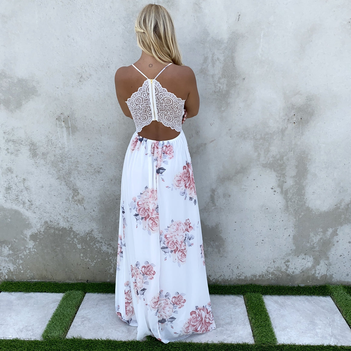 Love Struck Floral & Lace Maxi Dress
