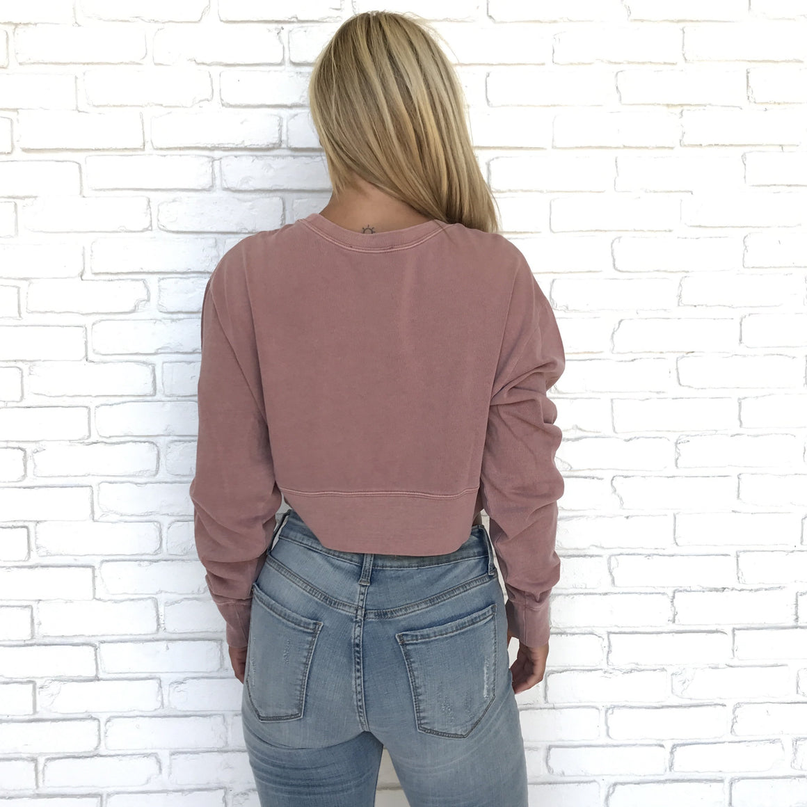 Perhaps Not Rose Crop Top Sweater - Dainty Hooligan