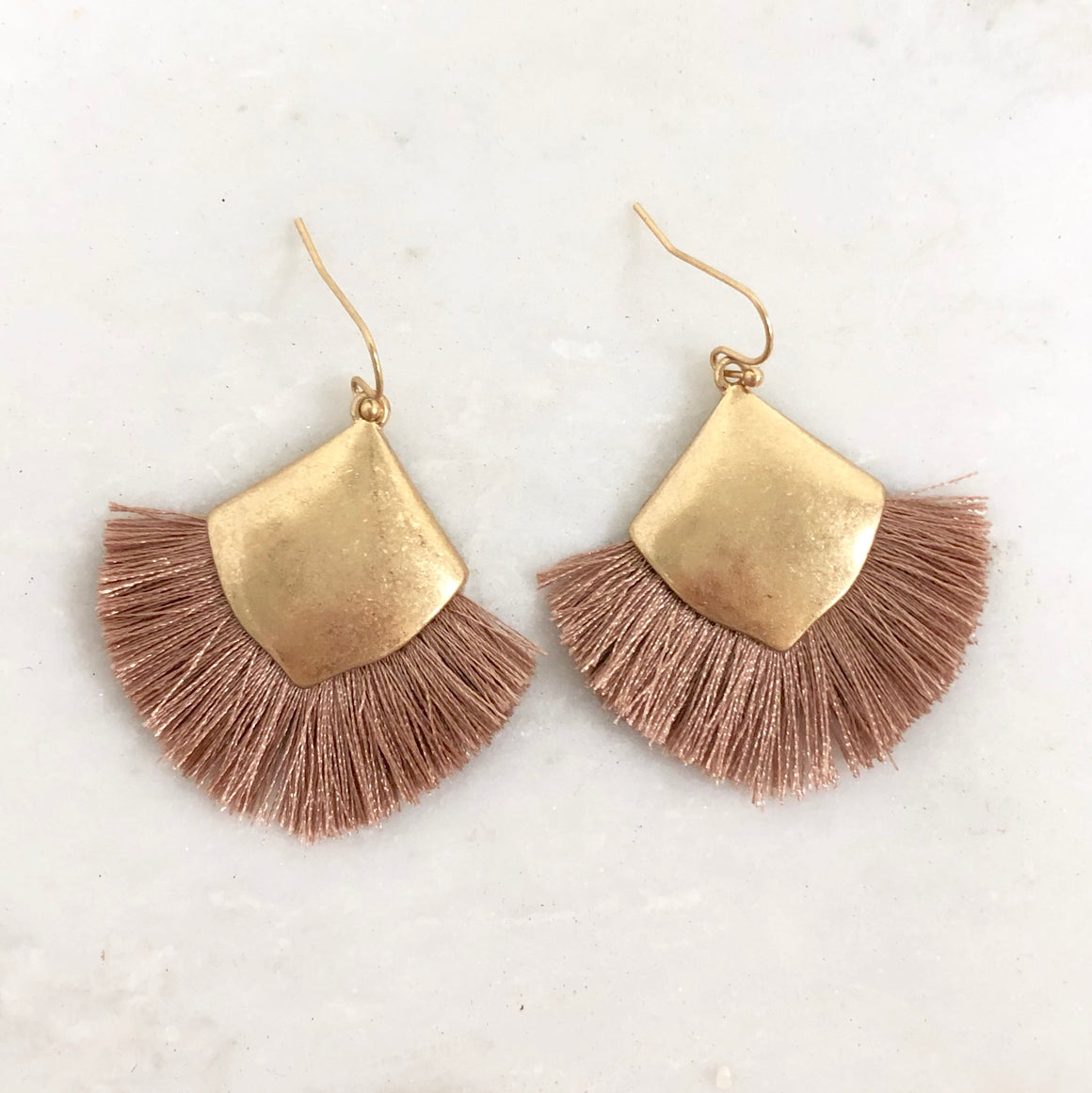 Fringe Benefits Mauve & Gold Earrings