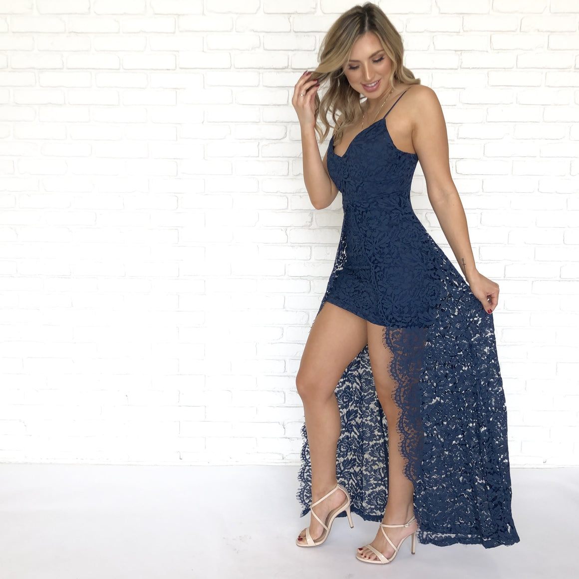 Love Language Navy Blue Lace Maxi Dress - Dainty Hooligan