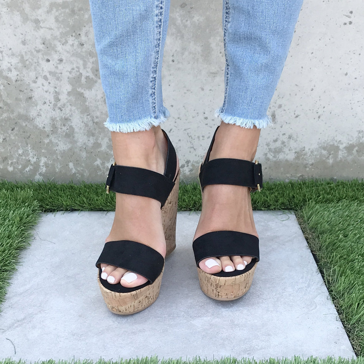 Sands Of Time Platform Wedges in Black