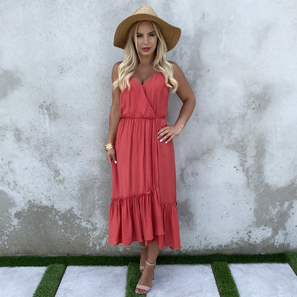 Stroll With Me Ruffle Maxi Dress in Brick Red - Dainty Hooligan