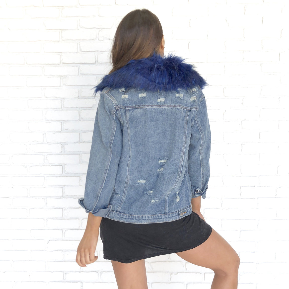 What the Fur Distressed Denim Jacket In Blue