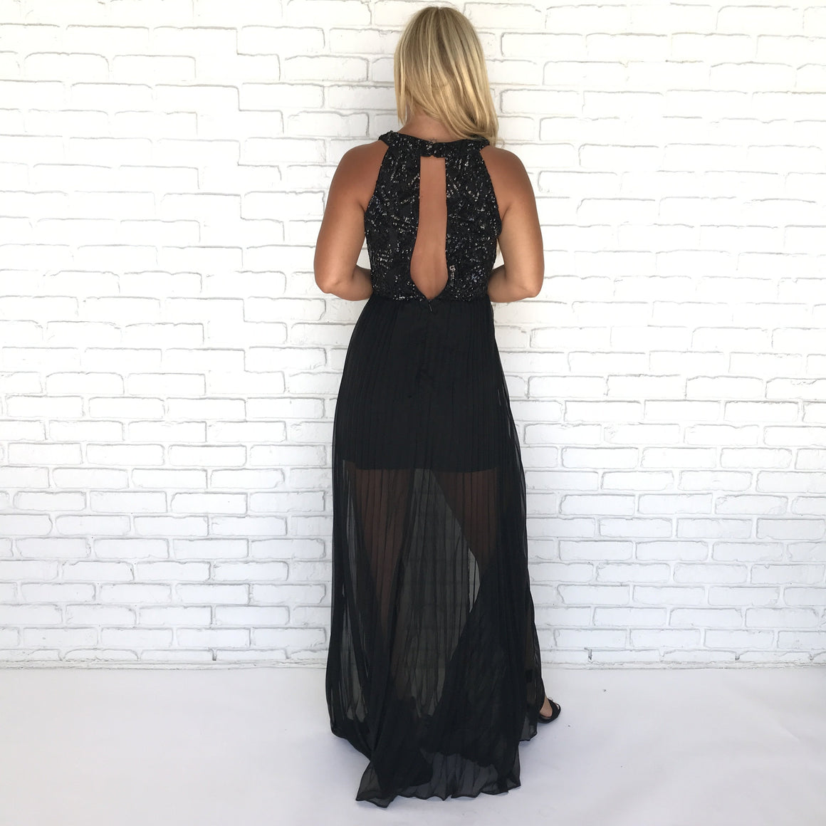 Night Walk Sequin Pleat Maxi Dress