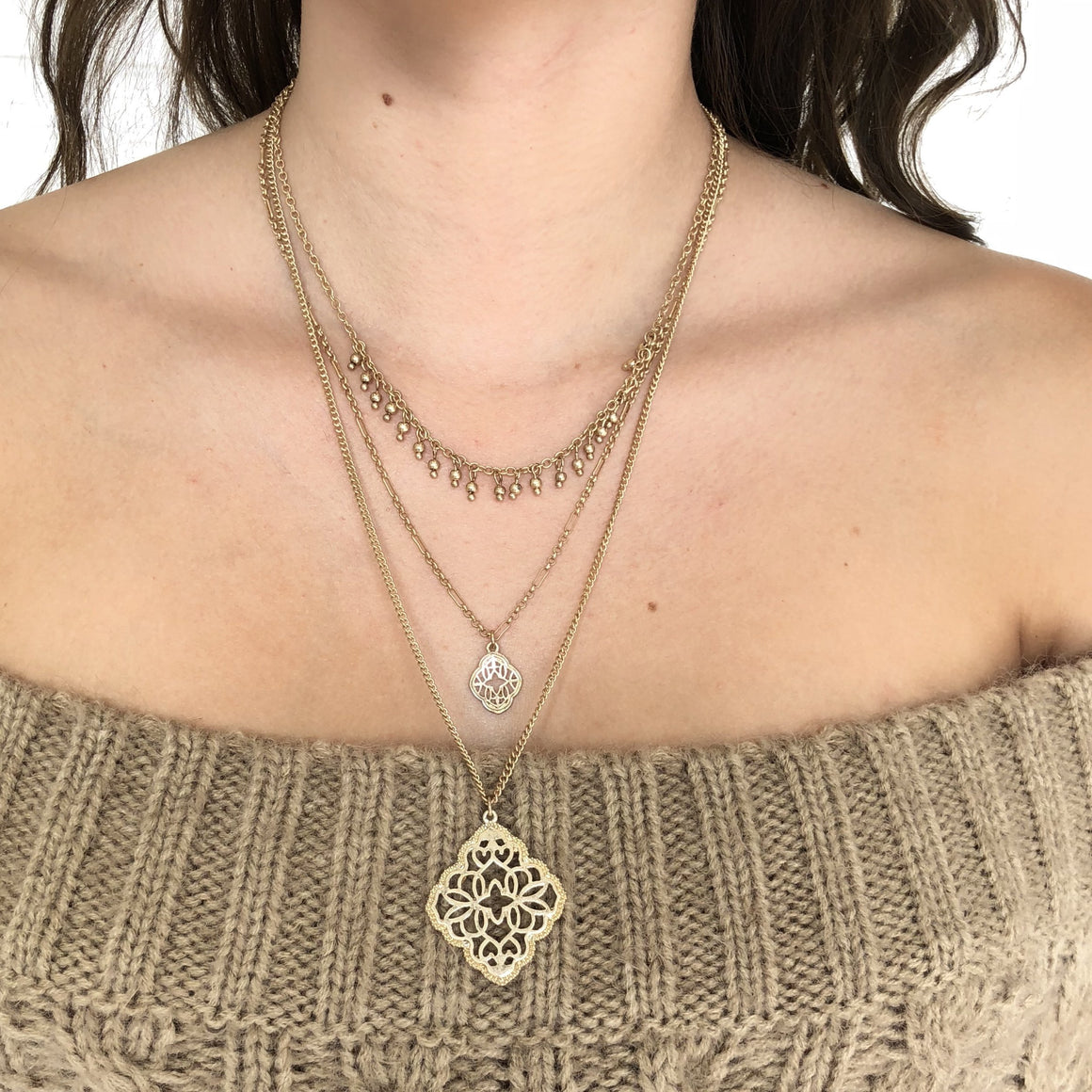 Cathedral Cut Out Gold Layered Necklace