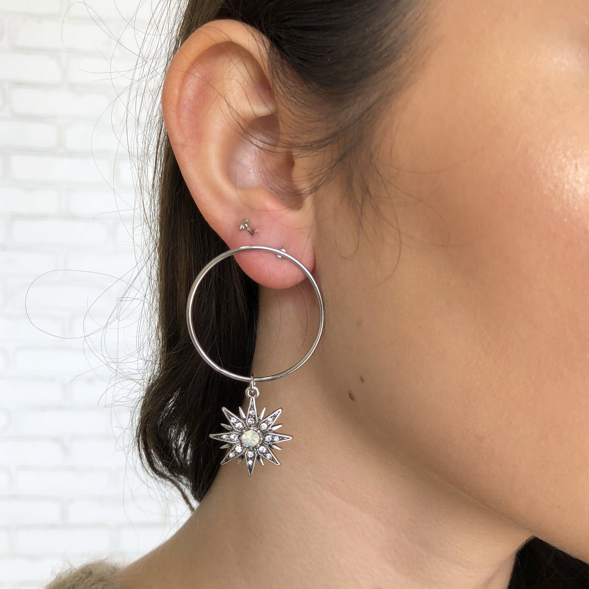 Starburst Hoop Earrings in Silver