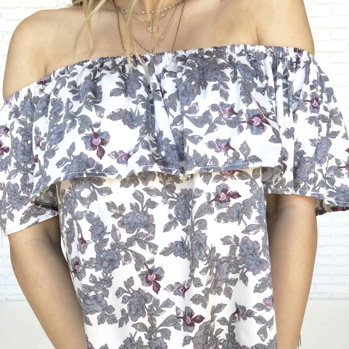 Cherished Memories Floral Off Shoulder Top