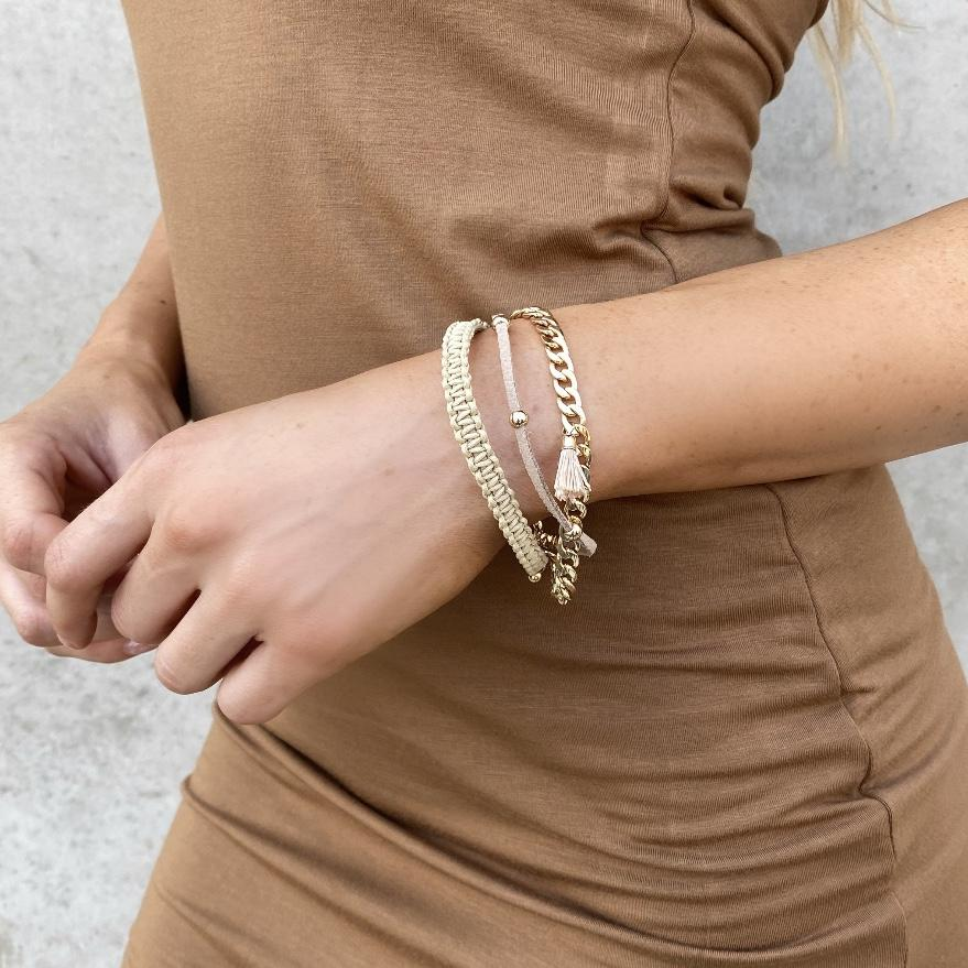 Natural Tan Woven Chain Bracelet - Dainty Hooligan
