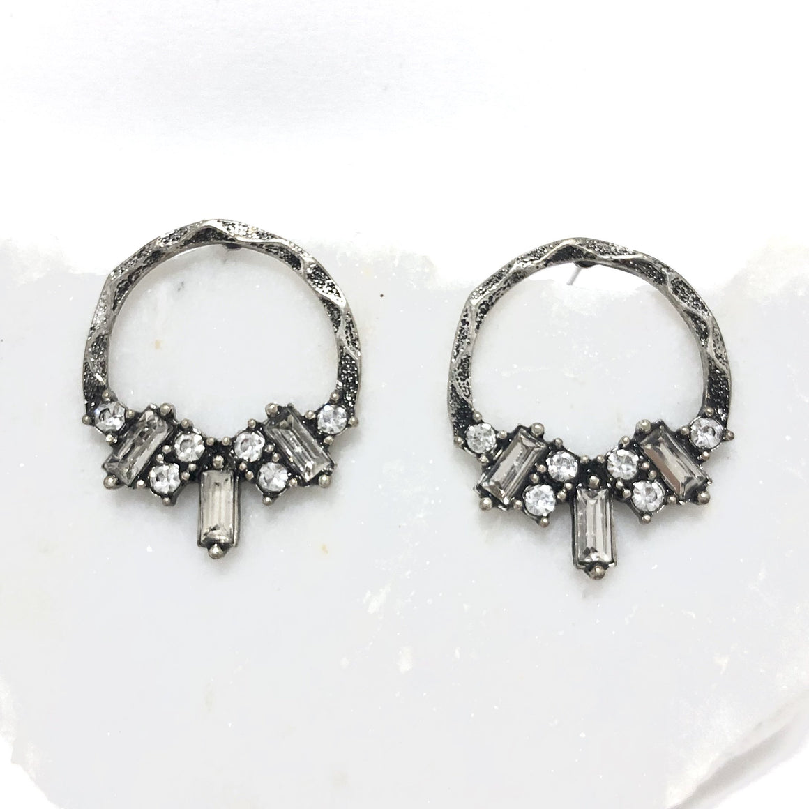 Love Linked Crystal Silver Earrings - Dainty Hooligan